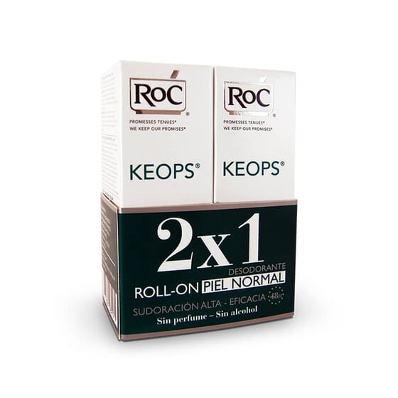 Roc Keops Déodorant Peau Normale ne contient pas d'alcool et est efficace pendant 48h.