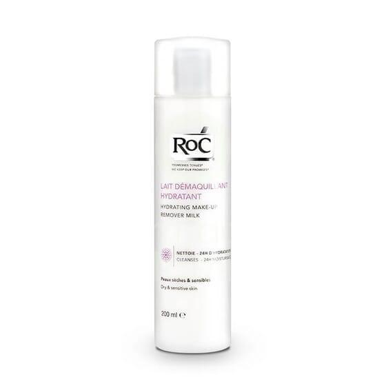 Roc Leche Limpiadora Hidratante Piel Seca y Sensible limpia la cara con suavidad.
