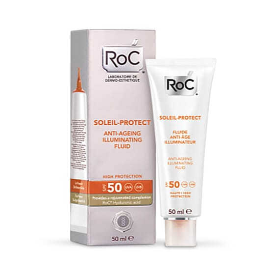 Roc Soleil Fluide Anti-Âge Illuminateur SPF 50 rajeuni votre peau.
