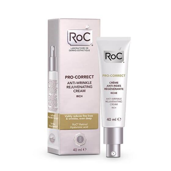 Roc Pro-Correct Crème Anti-rides Régénérant Riche réduit visiblement les rides.