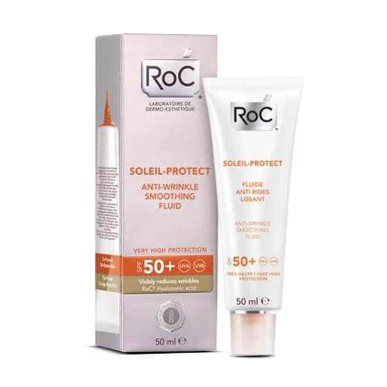 Roc Soleil-Protect Fluide Anti-Rides Lissant SPF 50+ pour une protection solaire maximale.