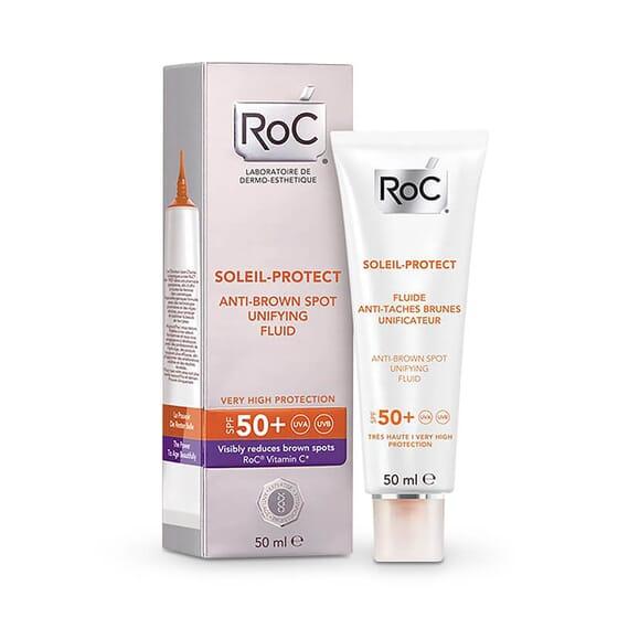 Roc Soleil Protect Fluide Anti-Taches Brunes Unificateur SPF 50+ réduit visiblement les taches b