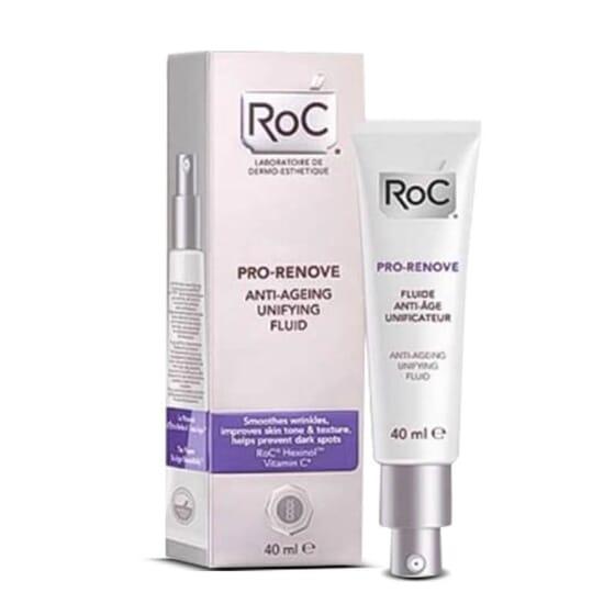 Roc Pro-Renove Fluide anti-âge unificateur pour un teint de peau radieux.