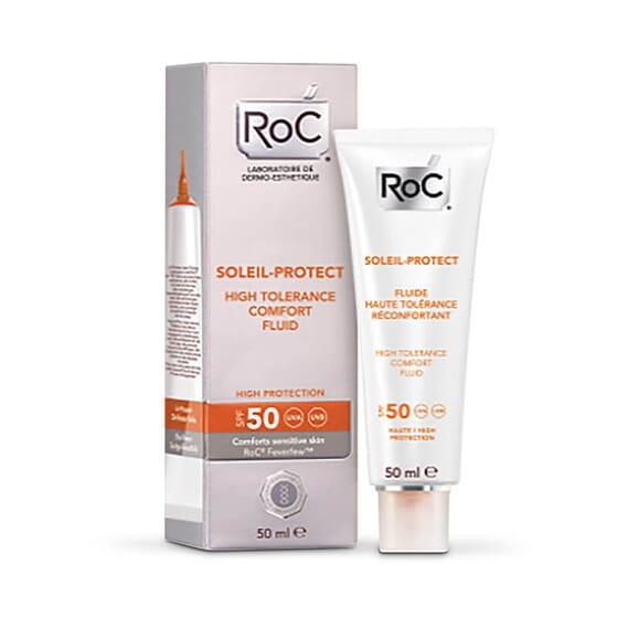 Roc Soleil-Protect Fluide Haute Tolérance Réconfortant SPF 50 rehausse le teint de la peau.