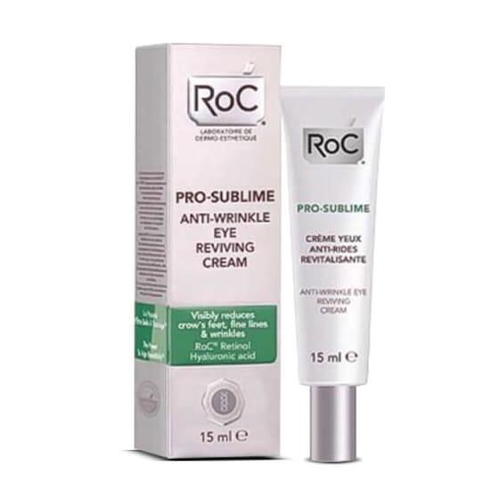 Roc Pro-Sublime Crème Yeux Anti-Rides Revitalisante avec de l'acide hyaluronique et du rétinol.