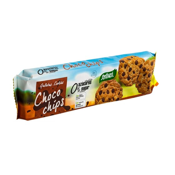 Biscuits Complets Choco Chips, sans sucres et riches en fibres.
