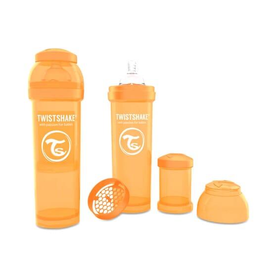 Biberon Anti-colique Orange de Twistshake prévient les coliques.