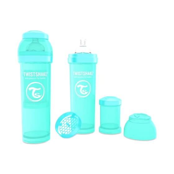 Le Biberon Anti-colique Turquoise a un design innovant qui prévient les coliques.