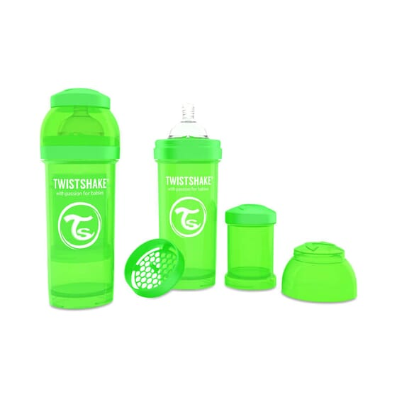 Biberon Anti-colique Vert de Twistshake prévient les coliques.