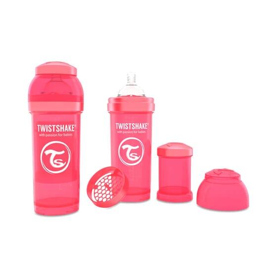 Biberon Anti-colique Corail de Twistshake prévient les coliques.