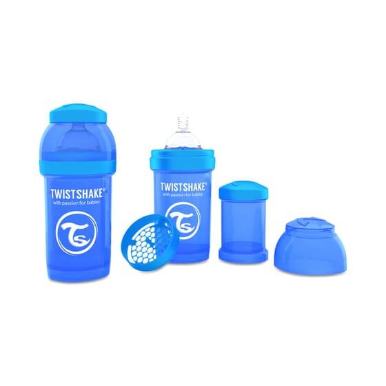 Biberon Anti-colique Bleu de Twistshake prévient les coliques.
