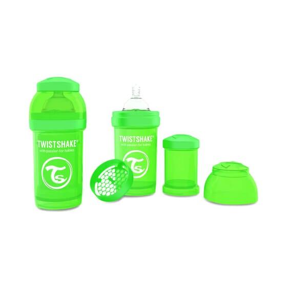 Biberón Anticólico Verde de Twistshake previene los cólicos.