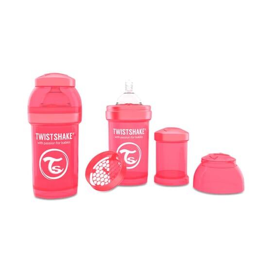 Biberon Anti-colique Corail de Twist Shake prévient les coliques.