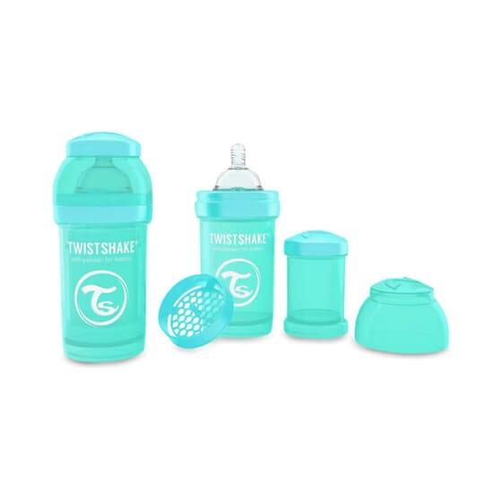 Le Biberon Anti-colique Turquoise prévient les coliques.