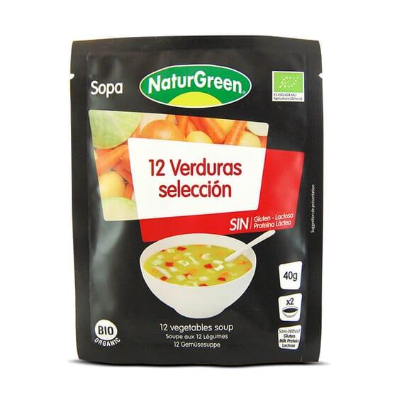 Sopa 12 Verduras Selección Bio no contiene lactosa.