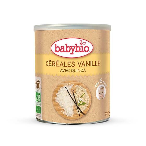 Babybio Céréales Vanille est formulé avec du riz et de la quinoa, à partir de 6 mois.