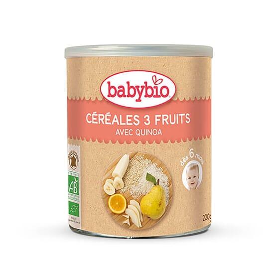 Babybio Céréales 3 Fruits avec du riz et de la quinoa issu d'une agriculture biologique.