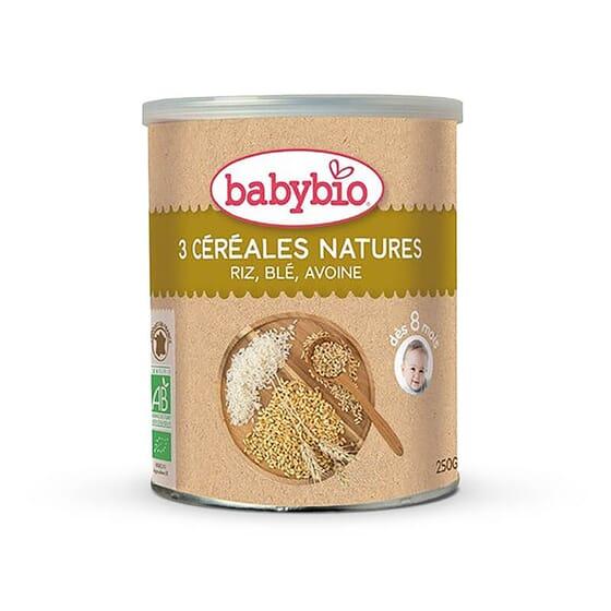 Babybio 3 Céréales Nature st une formule avec du riz, de l'avoine et du blé.