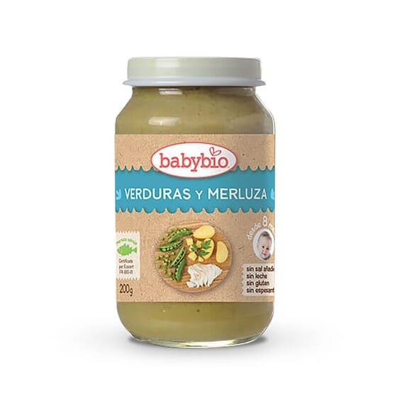 Babybio Menú del Día Verduras y Merluza de origen ecológico.