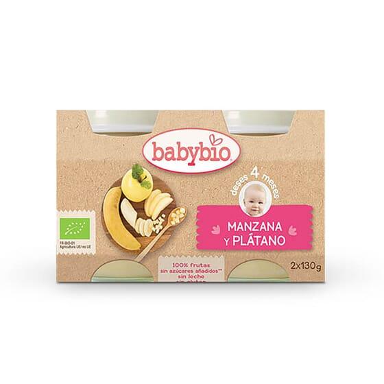 Babybio Fruit Pomme et Banane pour les bébés à partir de 4 mois.