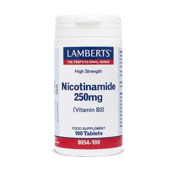 Nicotinamida 250mg (Vitamina B3) de Lamberts te aporta grandes beneficios para la salud.