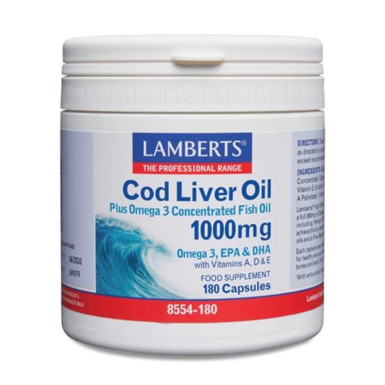 Óleo de Fígado de Bacalhau 1000mg é rico em Ómega 3 e Vitaminas A, D e E.