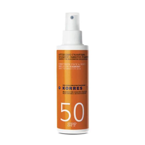 Korres Protector Solar Spray Yogur SPF50 protege tu piel del sol.
