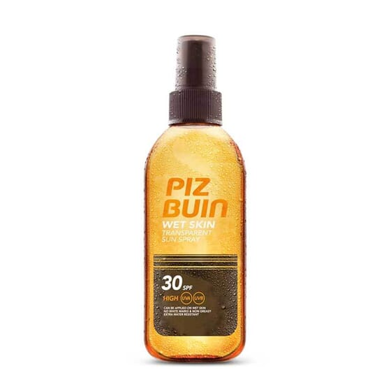 Piz Buin Wet Skin Spray Solaire Transparent protège votre peau des rayons UVA-UVB.
