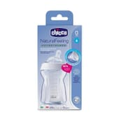BIBERÓN VIDRIO NATURAL FEELING SILICONA FLUJO NORMAL 0M+ BLANCO 250ml de Chicco
