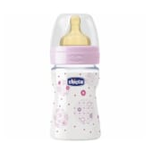 Chicco Biberon Well Being Silicone Flux Normal 0M+ Rose 150 ml