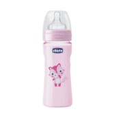 BIBERÓN WELL BEING SILICONA FLUJO MEDIO 2M+ ROSA 250ml de Chicco
