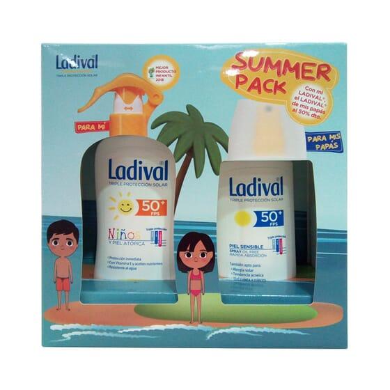 Summer Confezione Spray Protettore Bambini 200 ml + Spray Protettore Adulti SPF50+ 150 ml di Lad