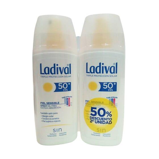 Spray Protettore Pelli Sensibili Rapido Assorbimento SPF50+ 2ª Unitâ 50% Sconto 150 ml 2 Unità di Ladival