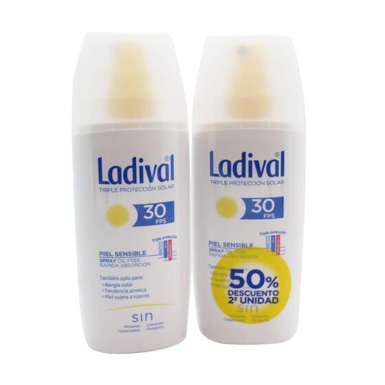 Spray Protettore Pelli Sensibili Rapido Assorbimento SPF30 2ª Unità 50% Sconto 150 ml 2 Unità di Ladival