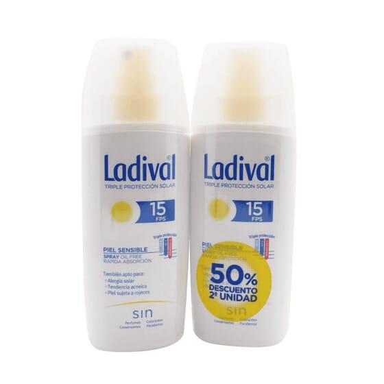 Spray Protettore Pelli Sensibili Rapido Assorbimento SPF15 2ª Unità 50% Sconto 150 ml 2 Unità di Ladival