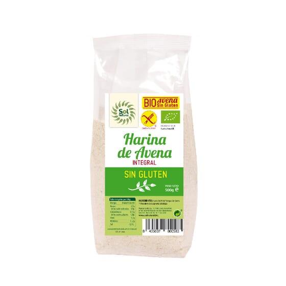 HARINA DE AVENA INTEGRAL SIN GLUTEN BIO 500g de Sol Natural.