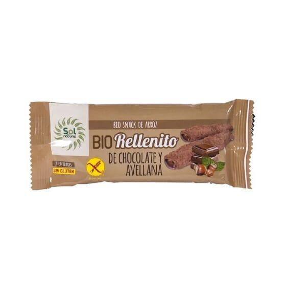 RELLENITO DE CHOCOLATE Y AVELLANAS SIN GLUTEN BIO 24 Ud de 25g de Sol Natural.