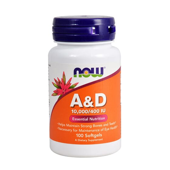 VITAMINAS A y D 10,000/400 IU 100 Perlas de Now Foods