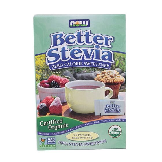 BETTER STEVIA SWEETENER ORGANIC 75 Sobres de Now Foods