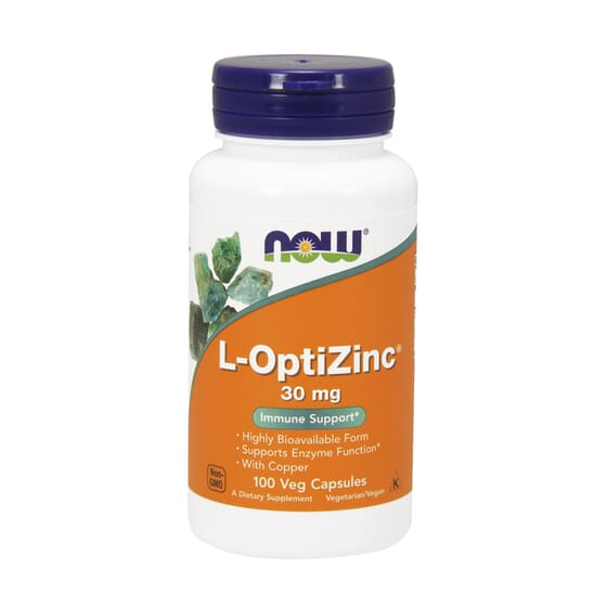L-OPTIZINC 30mg 100 VCaps de Now Foods