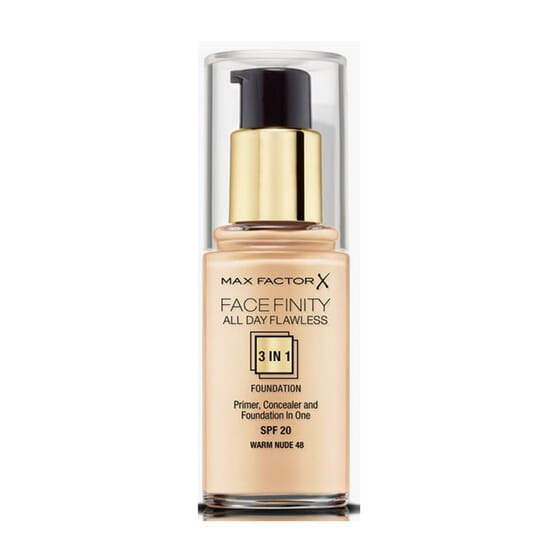 Fondotinta Facefinity All Day Flawless 3in1 #48 Warm Nude 30 ml di Max Factor