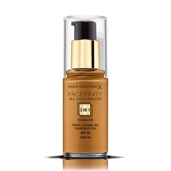 FACEFINITY ALL DAY FLAWLESS 3IN1 FOUNDATION #95 TAWNY 30ML de Max Factor