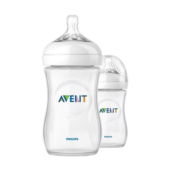 Biberon Naturale Valvola Anticoliche 1M+ Confezione Doppia 2 Unità 260 ml di Avent