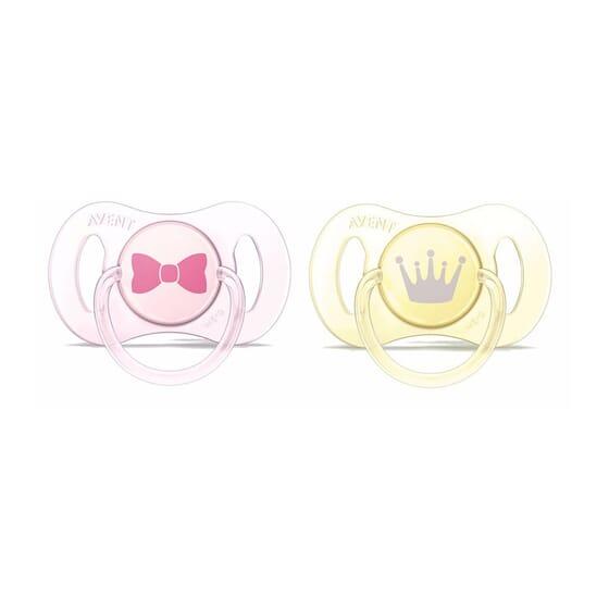 Succhietto Mini Silicone Rosa E Giallo 0-2M 2 Unità di Avent