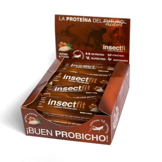 BARRITA PROTEICA CON HARINA DE GRILLO, NUTMIX Y CACAO 12 Barritas de 30g de Insectfit