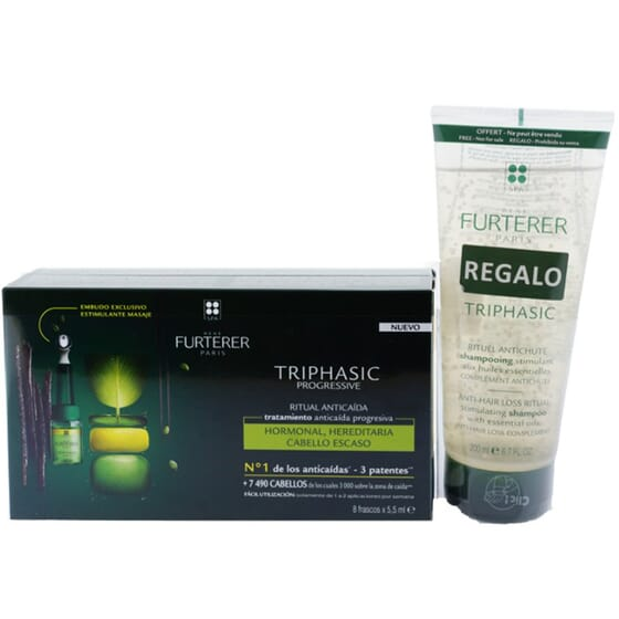 TRIPHASIC PROGRESSIVE TRATAMENTO ANTIQUEDA 8 Ampolas 5ml + CHAMPÔ GRÁTIS 200ml da Rene Furterer