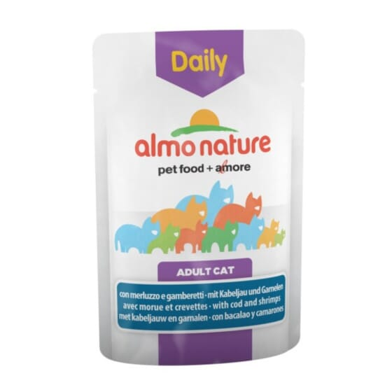 Adult Cat Daily Bacalao y Camarones 70g de Almo Nature