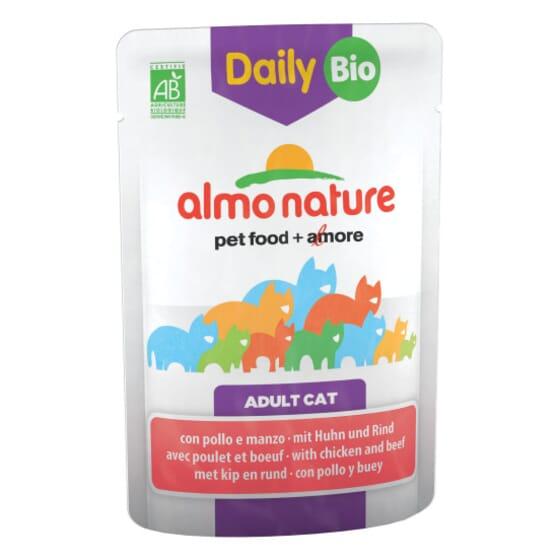 Adult Cat Daily Bio Vacuno y Pollo 70g de Almo Nature