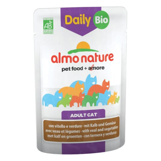 Adult Cat Daily Bio Ternera y Vegetales 70g de Almo Nature