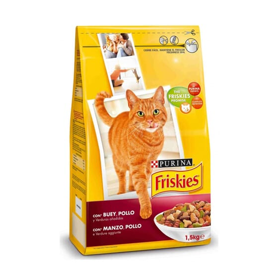 Gato Adulto Con Buey, Pollo y Verduras 1,5 Kg de Friskies